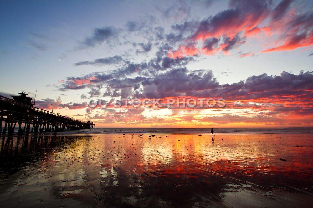 Low Tide under a Red Sunset at the Pier in San Clemente California