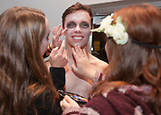 T. Drake Mulkey has zombie make-up applied before the School of Music's Hallowpalooza Concert at the Templeton-Blackburn Alumni Memorial Auditorium on Oct. 29, 2014.