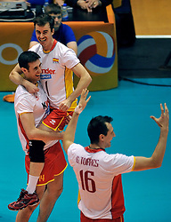 10-07-2011 VOLLEYBAL: EUROPEAN LEAGUE NETHERLANDS - SPAIN: ROTTERDAM<br /> Spain goes to Final4, (L-R) Iban Perez, Guillermo Hernan, Julian Garcia Torres<br /> ©2011-FotoHoogendoorn.nl