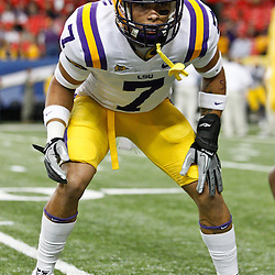 Dec 3, 2011; Atlanta, GA, USA; LSU Tigers cornerback Tyrann Mathieu (7)prior to kickoff of a game Georgia Bulldogs during the 2011 SEC championship game at the Georgia Dome.  Mandatory Credit: Derick E. Hingle-US PRESSWIRE
