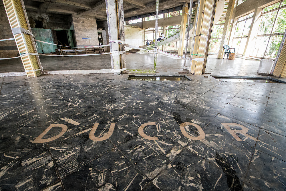 The front entrance of the abandoned Ducor Hotel, once the most prominent hotels in Monrovia, Liberia