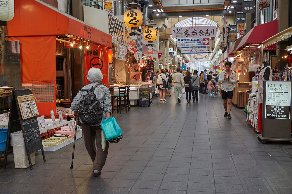 Kuromon Ichiba Market, known fondly as Osaka's Kitchen, is a large fresh market of 150 food vendors. It's increasingly finding its way onto tourist routes.