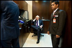 London Mayor Boris Johnson, during a phone in Interview with Nick Ferrari in Hyderabad airport during the forth day of a six-day tour of India, where he will be trying to persuade Indian businesses to invest in London, Wednesday November 28, 2012. Photo by Andrew Parsons / i-Images