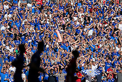 Leicester City fans celebrate in the stands with an inflateable penis  after Jamie Vardy scores an equalising goal to make it 1-1 - Rogan Thomson/JMP - 07/08/2016 - FOOTBALL - Wembley Stadium - London, England - Leicester City v Manchester United - The FA Community Shield.
