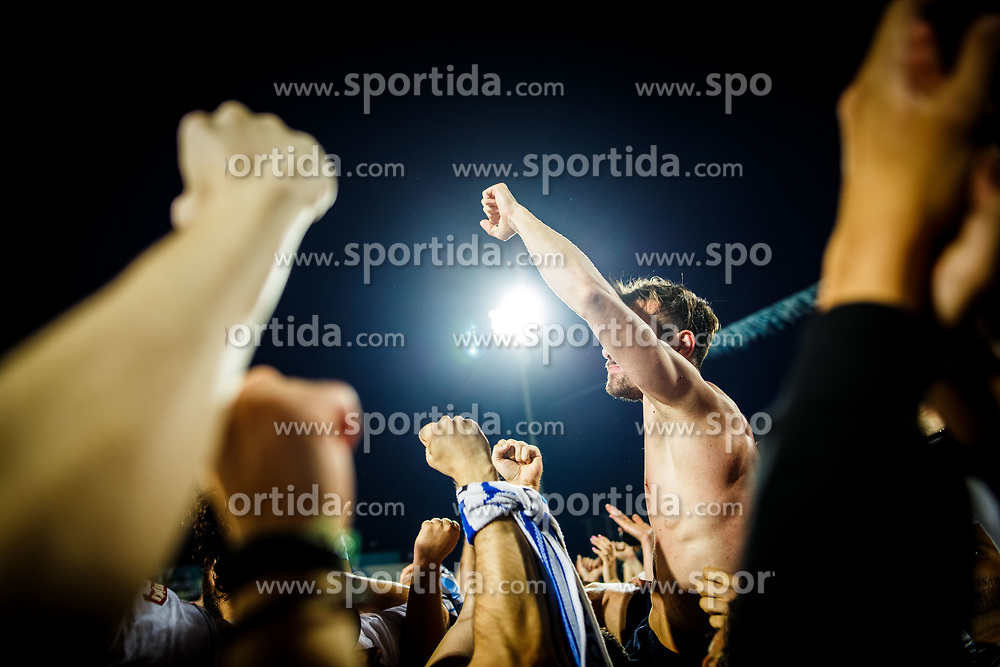 Marko Vesovic #29 of HNK Rijeka with fans during celebration after winning Croatian national soccer league after football match between HNK Rijeka and HNK Cibala in Round #35 of 1st HNL League 2016/17, on May 21st, 2017 in Rujevica stadium, Rijeka, Croatia. Photo by Grega Valancic / Sportida