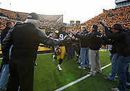 November 20 2010: Iowa Hawkeyes defensive end Adrian Clayborn (94) takes the field before the start of the NCAA football game between the Ohio State Buckeyes and the Iowa Hawkeyes at Kinnick Stadium in Iowa City, Iowa on Saturday November 20, 2010. Ohio State defeated Iowa 20-17.