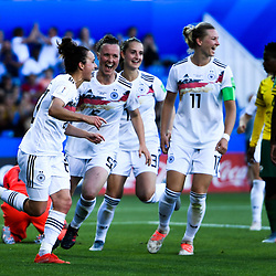 Lina Magull of Germany celebrates his scoring with team-mates during the Women's World Cup match between Germany and South Africa at Stade de la Mosson on June 17, 2019 in Montpellier, France. (Photo by Alexandre Dimou/Icon Sport)