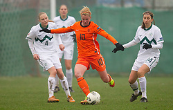 Kirsten van de Ven of Netherlands between Anisa Rola and Anja Milenkovic of Slovenia during football match between Women national teams of Slovenia and Netherlands in 4th Round of EURO 2013 Qualifications, on November 19, 2011 in Ivancna Gorica, Slovenia. Netherlands defeated Slovenia 2-0. (Photo By Vid Ponikvar / Sportida.com)