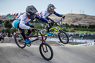 Men Elite #164 (ISIDORE Quillan) GBR and Men Elite #78 (WHYTE Tre) GBR the 2018 UCI BMX World Championships in Baku, Azerbaijan.