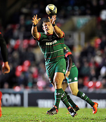 Tom Youngs of Leicester Tigers receives the ball - Photo mandatory by-line: Patrick Khachfe/JMP - Mobile: 07966 386802 16/01/2015 - SPORT - RUGBY UNION - Leicester - Welford Road - Leicester Tigers v Scarlets - European Rugby Champions Cup