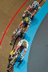 08-01-2012 WIELRENNEN: RABOBANK ZESDAAGSE: ROTTERDAM<br /> (Onder-Boven) Leif Lampater GER, Danny Stam - AA Drink, Iljo Keisse<br /> (c)2012-FotoHoogendoorn.nl / Peter Schalk
