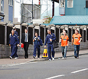 Dundee assistant manager Ray Farningham, manager Barry Smith, physio Karen Gibson and coach Rab' Geddes walk down Tannadice Street with a couple of Dundee United fans - Dundee United v Dundee, Clydesdale Bank Scottish Premier League at Tannadice.. - © David Young - 5 Foundry Place - Monifieth - DD5 4BB - Telephone 07765 252616 - email: davidyoungphoto@gmail.com - web: www.davidyoungphoto.co.uk