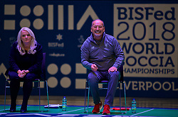 LIVERPOOL, ENGLAND - Wednesday, August 15, 2018: Everton's Chief Executive Professor Denise Barrett-Baxendale (left) and Liverpool FC's Chief Executive Peter Moore (right) play a round of Boccia at the BISFed 2018 Word Boccia Championships in the Liverpool Exhibition Centre. (Pic by David Rawcliffe/Propaganda)