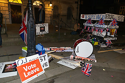 "Silent and forlorn after a long day of bell ringing and drumming, the hard Brexit-supporting ""Liberty Bell"" contraption awaits collection. London, January 15 2019."