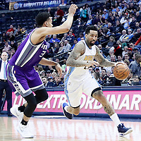 06 March 2017: Denver Nuggets forward Wilson Chandler (21) drives past Sacramento Kings forward Skal Labissiere (3) during the Denver Nuggets 108-96 victory over the Sacramento Kings, at the Pepsi Center, Denver, Colorado, USA.