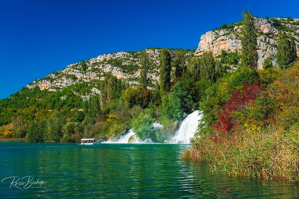 Tour boat and cascades on the Krka River, Roski Slap, Krka National Park, Dalmatia, Croatia