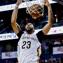 Mar 19, 2017; New Orleans, LA, USA; New Orleans Pelicans forward Anthony Davis (23) dunks against the Minnesota Timberwolves during the second half of a game at the Smoothie King Center. The Pelicans defeated the Timberwolves 123-109. Mandatory Credit: Derick E. Hingle-USA TODAY Sports