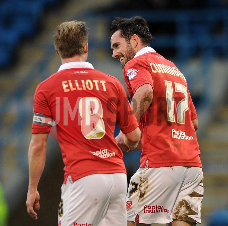 Bristol City's Greg Cunningham celebrates his goal with Bristol City's Wade Elliott - Photo mandatory by-line: Dougie Allward/JMP - Mobile: 07966 386802 - 08/11/2014 - SPORT - Football - Gillingham - Priestfield Stadium - Gillingham v Bristol City - FA Cup - Round One