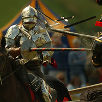 The first joust held at the Scottish medieval tournament with the Royal Armouries was held at the House of Binns near Edinburgh.Picture David Cheskin.