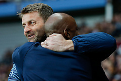 Former Tottenham Hotspur colleages Aston Villa Manager Tim Sherwood and QPR Manager Chris Ramsey hug before kick off - Photo mandatory by-line: Rogan Thomson/JMP - 07966 386802 - 07/04/2015 - SPORT - FOOTBALL - Birmingham, England - Villa Park - Aston Villa v Queens Park Rangers - Barclays Premier League.