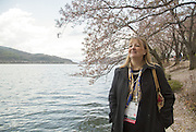 Karin Krchnak, Director of Freshwater Program of the World Wildlife Fund (WWF) U.S., walks near a venue of the World Water Forum after a high-level panel on water in the Post-2015 Development Agenda of the forum in Gyeongju, South Korea, April 14, 2015. Photo by Lee Jae-Won (SOUTH KOREA)  www.leejaewonpix.com