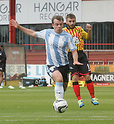 Paul McGowan races away from Partick Thistle's Steven Lawless - Dundee v Partick Thistle, SPFL Premiership at Dens Park<br /> <br />  - &copy; David Young - www.davidyoungphoto.co.uk - email: davidyoungphoto@gmail.com