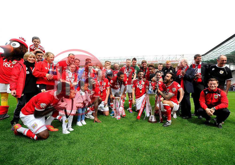 Bristol City players celebrate winning the league one title with an 8-2 win over walsall on the last day of the season with the Sky Bet League One Trophy  and JPT Trophy - Photo mandatory by-line: Joe Meredith/JMP - Mobile: 07966 386802 - 03/05/2015 - SPORT - Football - Bristol - Ashton Gate - Bristol City v Walsall - Sky Bet League One