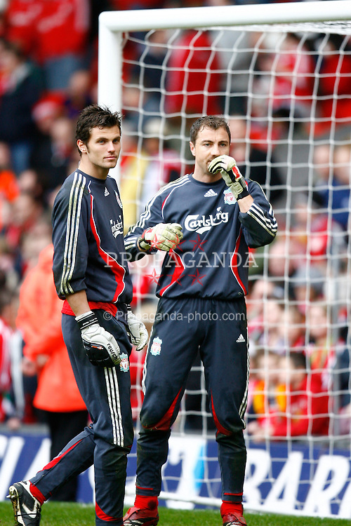 Liverpool, England - Saturday, February 24, 2007: Liverpool's goalkeeper Daniele Padelli and goalkeeper Jerzy Dudek before the Premiership match against Sheffield United at Anfield. (Pic by David Rawcliffe/Propaganda)
