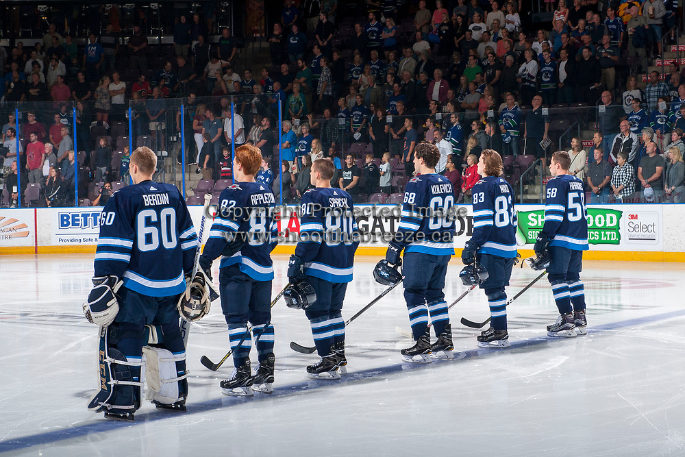 PENTICTON, CANADA - SEPTEMBER 8: The Winnipeg Jets line up against the Vancouver Canucks on September 8, 2017 at the South Okanagan Event Centre in Penticton, British Columbia, Canada.  (Photo by Marissa Baecker/Shoot the Breeze)  *** Local Caption ***