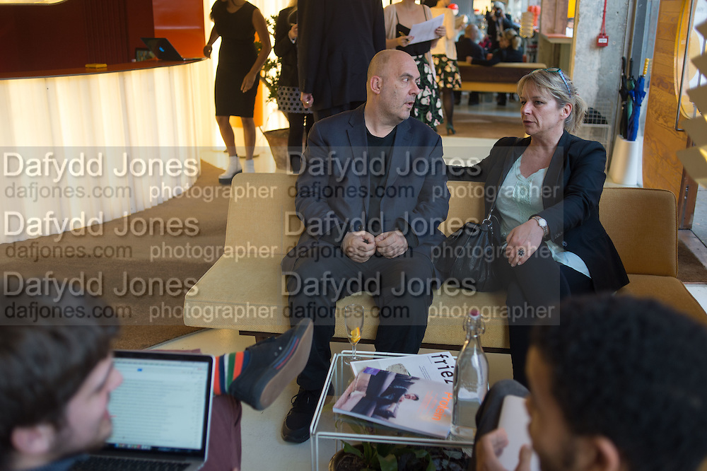 TIBOR FISCHER; ESZTER PATAKI; , Launch of ' More Human',  Designing a World Where People Come First' by Steve Hilton. Party held at Second Home in Princelet St, off Brick Lane, London. 19 May 2015.