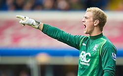 BIRMINGHAM, ENGLAND - Saturday, March 13, 2010: Birmingham City's goalkeeper Joe Hart in action against Everton during the Premiership match at St Andrews. (Photo by David Rawcliffe/Propaganda)