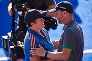 Ireland coach Graham Shaw congratulates Netherlands coach Alyson Annan during the Vitality Hockey Women's World Cup 2018 Finals Gold Medal match between the Netherlands and Ireland, at the Lee Valley Hockey and Tennis Centre, QE Olympic Park, United Kingdom on 5 August 2018. Picture by Martin Cole.