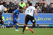 AFC Wimbledon striker Andy Barcham (17) dribbling down wing during the EFL Sky Bet League 1 match between AFC Wimbledon and Peterborough United at the Cherry Red Records Stadium, Kingston, England on 12 November 2017. Photo by Matthew Redman.