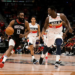 Mar 24, 2019; New Orleans, LA, USA; Houston Rockets guard James Harden (13) drives past New Orleans Pelicans center Julius Randle (30) during the first quarter at the Smoothie King Center. Mandatory Credit: Derick E. Hingle-USA TODAY Sports
