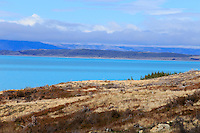 The blue waters of Lake Pukaki near Mt Cook National Park, New Zealand