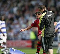 Photo: Lee Earle.<br /> Queens Park Rangers v Cardiff City. Coca Cola Championship. 21/04/2007.Cardiff's Michael Chopra kicks over the water carrier after getting frustrated at losing to QPR.