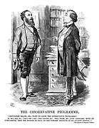 "The Conservative Programme. ""Deputation Below, Sir.- Want To Know The Conservative Programme."" Rt. Hon. Ben. Diz. ""Eh?-Oh!-Ah!-Yes!-Quite So! Tell Them, My Good Abercorn, With My Compliments, That We Propose To Rely On The Sublime Instincts Of An Ancient People!!"" [See Speech at Crystal Palace."