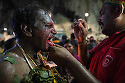 Jan. 24, 2016 - Kuala Lumpur, Batu Caves, Malaysia - <br /> <br /> Thaipusam Festival in Kuala Lumpur<br /> <br /> To mark this day, Hindus devotees pierce different part of their body with various metal skewers and carry pots of milk on their heads along couple of kilometers to celebrate the honor of Lord Subramaniam (Lord Murugan) in the Batu Caves, one of the most popular shrine outside India and the focal point to celebrate the Thaipusam Festival in Malaysia..Thaipusam is an annual Hindu festival, observed on the day of the full moon during the Tamil month of Thai, it is also a public holiday for many people.<br /> &copy;Exclusivepix Media
