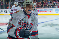 REGINA, SK - MAY 20: Nick Henry #21 of Regina Pats skates to the bench to celebrate a goal against the Acadie-Bathurst Titan at the Brandt Centre on May 20, 2018 in Regina, Canada. (Photo by Marissa Baecker/CHL Images)