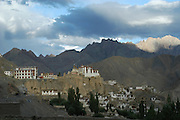 India, Ladakh region state of Jammu and Kashmir, Lamayaru, the exterior of the monastery and the agriculture fields around at dusk