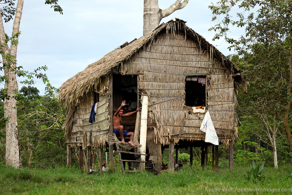 South America, Brazil, Amazon.  A man waves from his palm thatched home on the Amazon river.