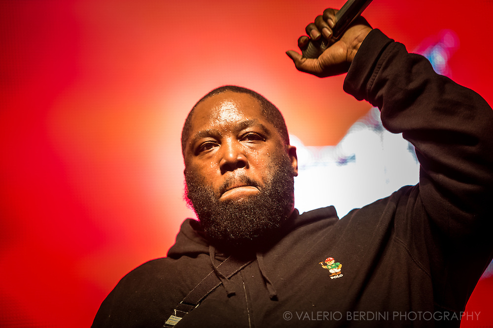 Killer Mike of Hip Hop duo Run The Jewels live on stage at Field Day 2015 in Victoria Park, London