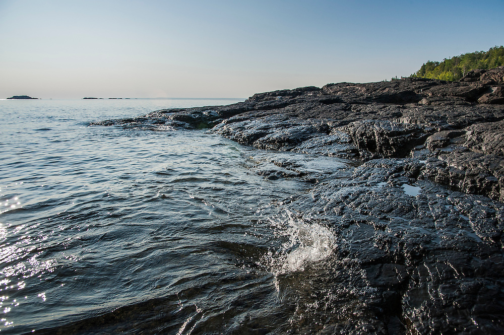Lake Superior shoreline at the Black Rocks area of Marquette Michigan.