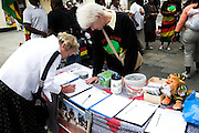 Rally in central London held by MDC every Saturday to protest against Robert Mugabe and his regime in Zimbabwe. Woman signing a petition.