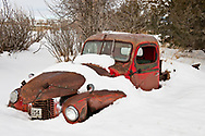 Old truck, winter, Wilsall, Montana