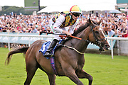 ESCOBAR (1) ridden by Jamie Spencer and trained by David O'Meara winning The John Smiths Racing Stables Handicap Stakes over 1m (£25,000)during the John Smiths Diamond Cup Meeting at York Racecourse, York, United Kingdom on 13 July 2019.