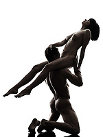 one  couple man woman cunilingus sexual kamasutra posture love activity in silhouette studio on white background
