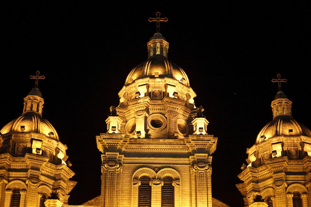 The catholic chinese church of Wangfujing in  Beijing at night befor Christmas 2009.
