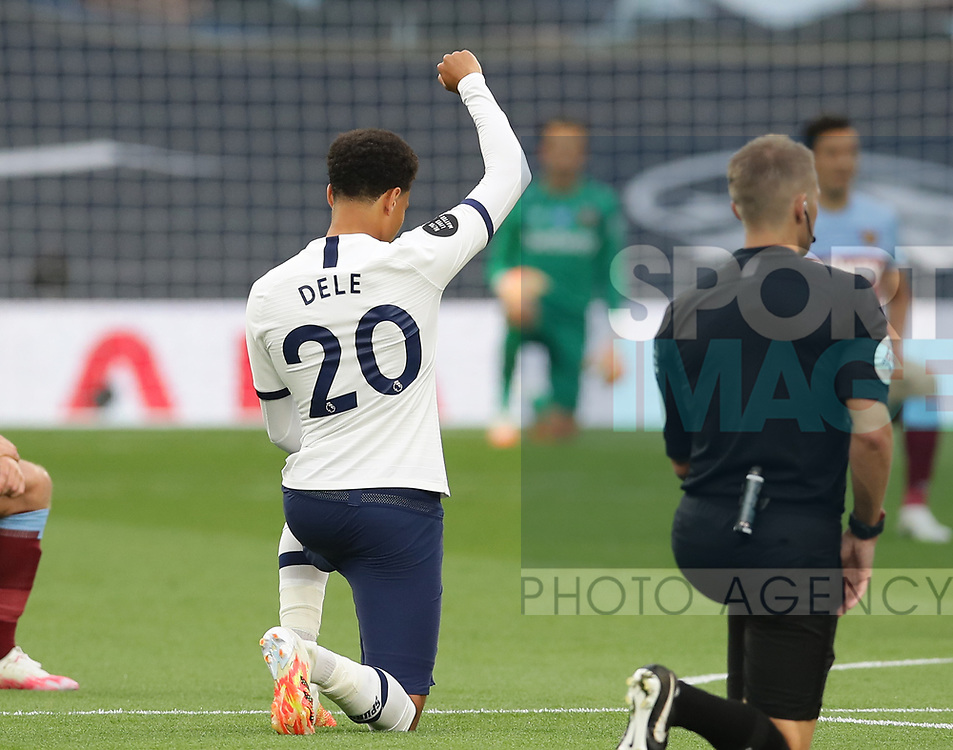 Dele Alli of Tottenham takes the knee during the Premier League match at the Tottenham Hotspur Stadium, London. Picture date: 23rd June 2020. Picture credit should read: David Klein/Sportimage