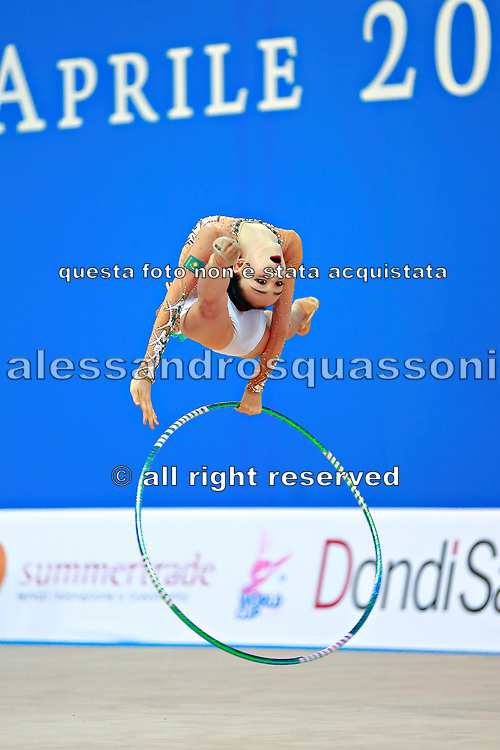 """Adilkhanova Alina from Kazakhstan during hoop routine at  the International Tournament """"Città di Pesaro"""",01 April,2016.This tournament dedicated to the youngest athletes is at the same time of the World Cup."""